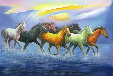 horses painting luck paintings running horse seven 36in 24in race vastu india acrylic handpainted x49po fizdi