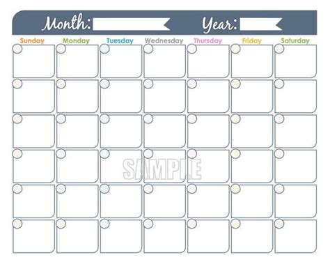 monthly calendar printable undated editable family