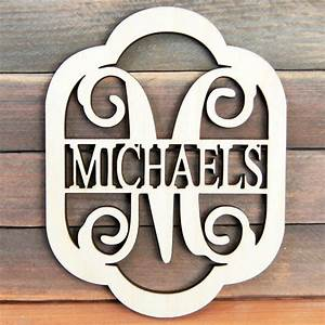 custom wooden monogram last name in rounded With wooden initial letters monogram
