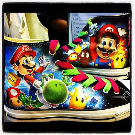 Spectacular Hand Painted Super Mario Bros Shoes Pic