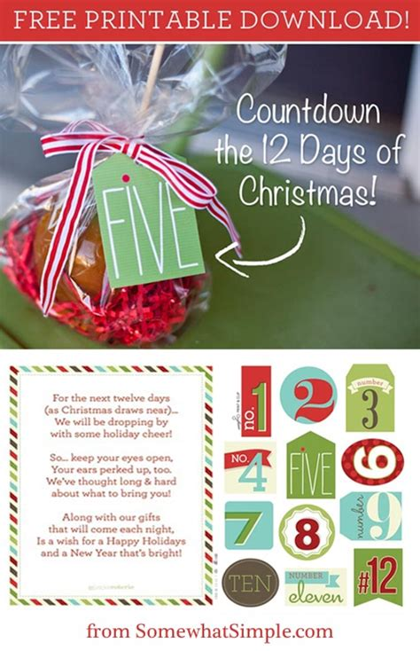 the 12 days of christmas tags free printable somewhat simple
