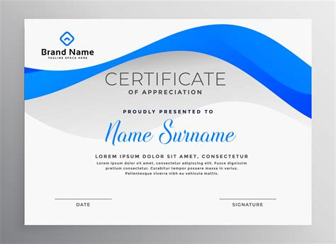 modern blue professional certificate template