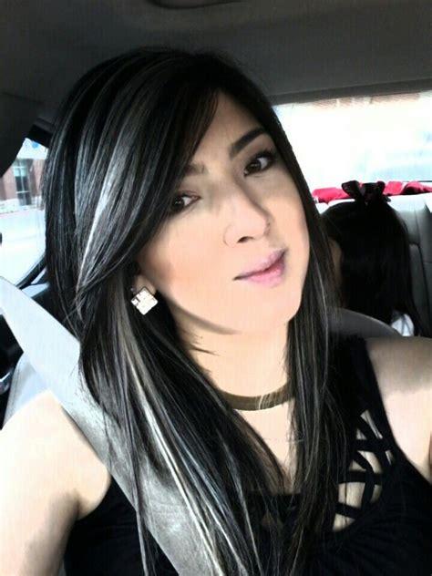 platinum highlights  dark hair hair   gray