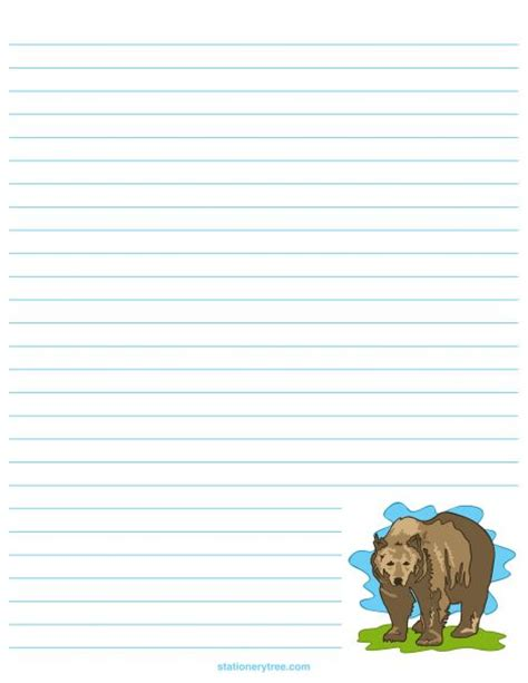 printable bear stationery  writing paper