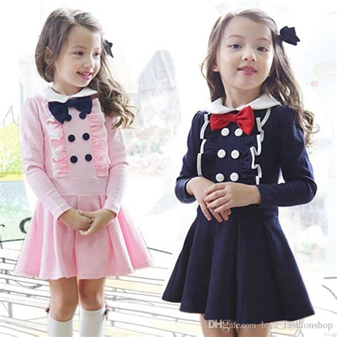 2018 Korean Baby Girls Preppy Style Double Breasted Bow Dresses Long Sleeve Princess Dress Child ...