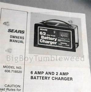 Vintage Owners Manual Sears Battery Charger For 6 Amp  U0026 2