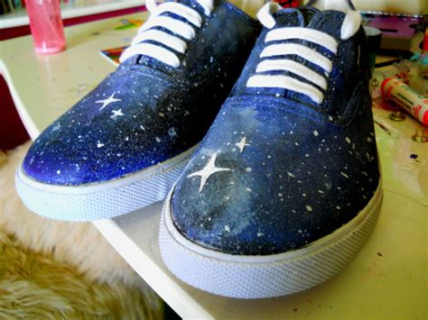 galaxy shoes   paint  pair  patterned shoes