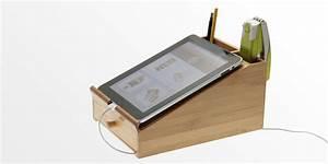 iPad Stand L Desk Tidy Bamboo Desk Organiser Office