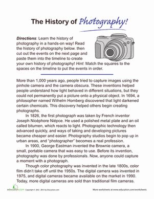history of photography timeline worksheet education com