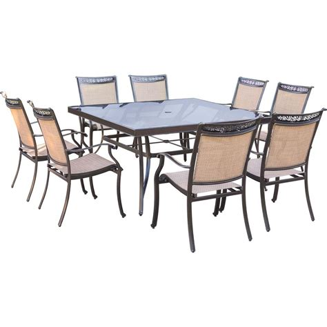 square dining table set hanover fontana 9 piece aluminum square outdoor dining set