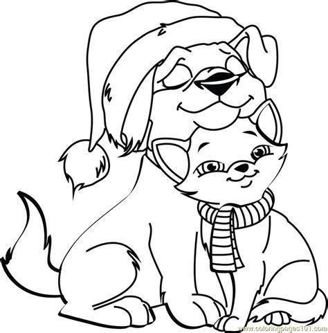 christmas cat  dog coloring page  christmas