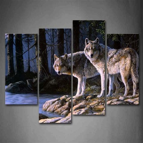 wolf wall art print canvas animal painting picture wood