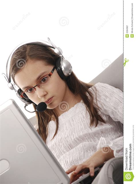 young girl  internet chat royalty  stock