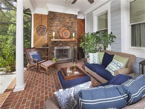 lanai  lives   living room brick fireplace