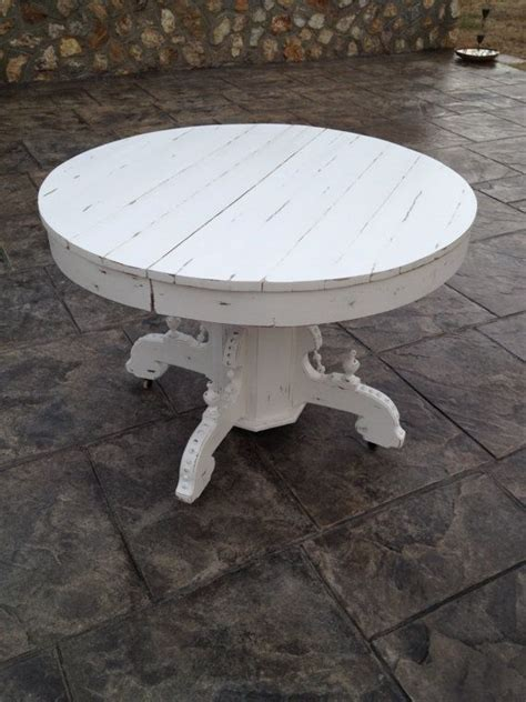 Patio side table small steel round coffee porch snack metal white by amagabeli. Vintage Solid Oak Round White Pedestal Table | Distressed furniture painting, Pedestal coffee ...