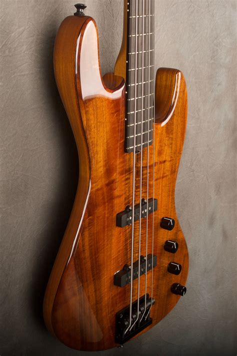 natural koa top standard  string  bass guitar