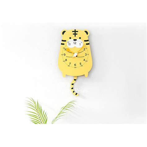 funny wall clocks acrylic kids cute yellowpinkbrown