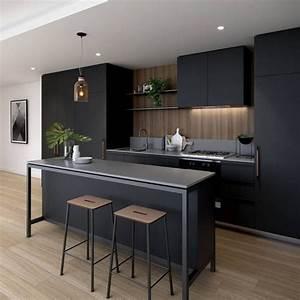 Meuble Noir Et Bois : meuble cuisine noir et bois id es d co maison ~ Teatrodelosmanantiales.com Idées de Décoration