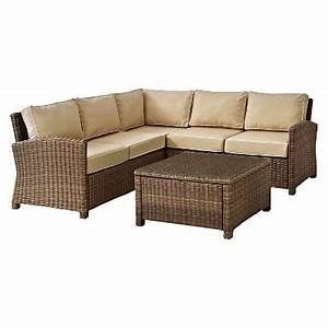 Crosley bradenton 4 piece outdoor wicker sectional seating for Outdoor sectional sofa target