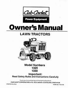 Cub Cadet Lawn Mower 1325 User Guide