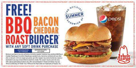 cuisine promotion free bbq bacon cheddar roast burger at arbys with purchase