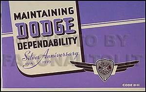 1939 Dodge Car Owners Manual 39 D11 Owner Guide Book Dodge