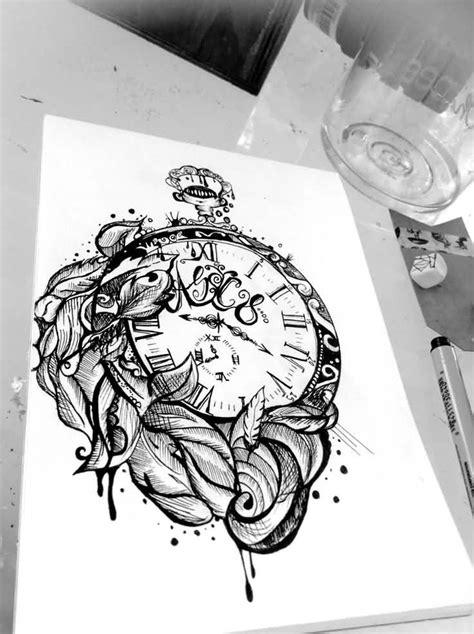Owl And Clock Tattoo Design