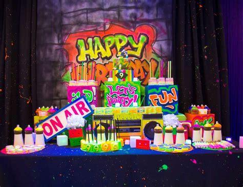 hip hop graffiti glow   dark party birthday jasis