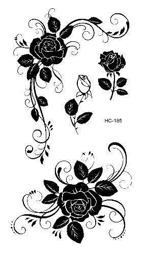 HC1113 Waterproof Temporary Tattoo Stickers Courage Fear Heart Mind | Flower wrist tattoos