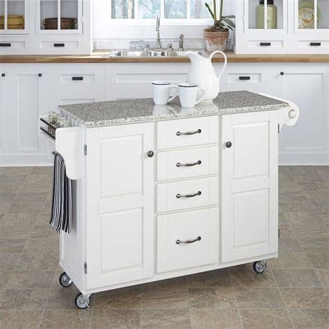 salt and pepper granite top kitchen cart in white 9100 1023