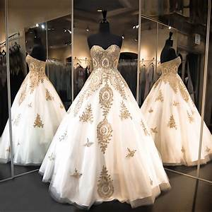 brilliant design gold and white wedding dresses lace dress With gold dress for wedding