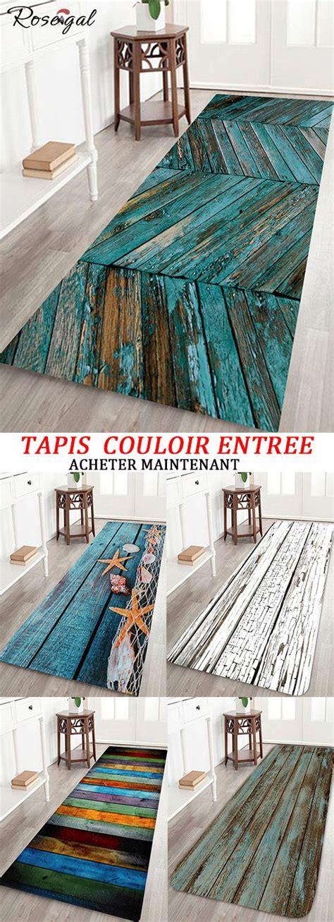 tapis couloir pour entree avec motif bois rosegal maison