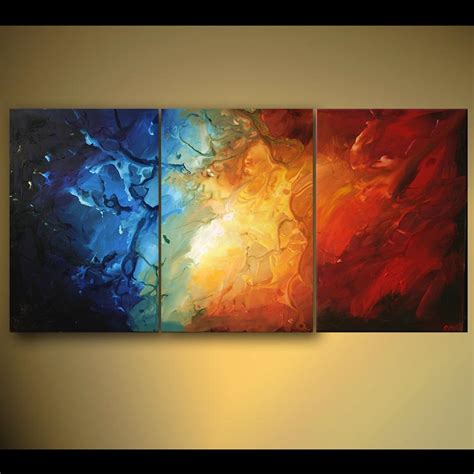 modern painting abstract painting colorful triptych modern painting home decor 5455