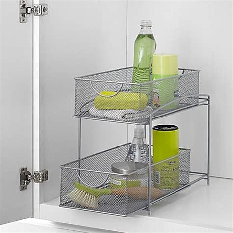 sliding baskets for kitchen cabinets org mesh 2 tier sliding cabinet basket in silver bed 7980