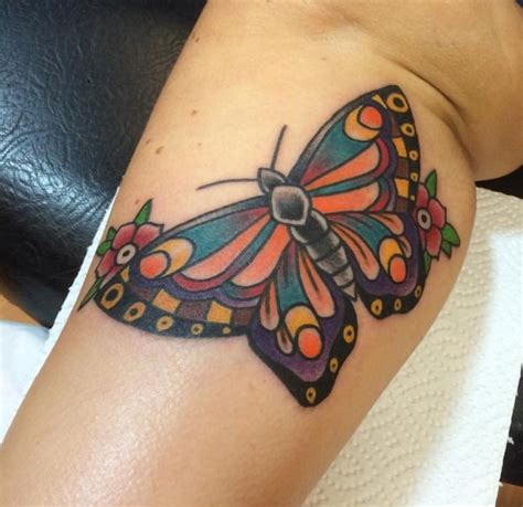 traditional butterfly tattoo  leg