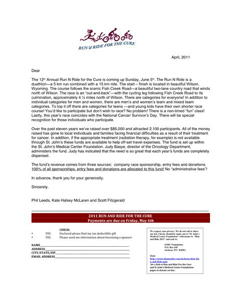 run ride sponsorship letter fitzgeralds bicycles