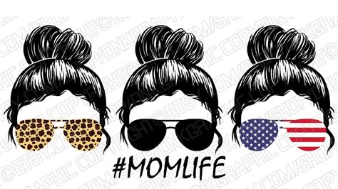 1 svg file of the design. Messy Bun Mom Life SVG Sticker Decal Silhouette Cameo ...
