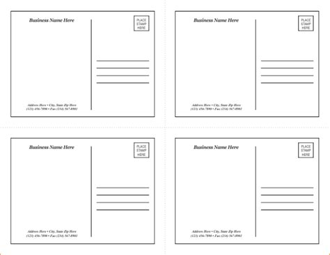Postcards Templates For Word by Postcard Template Word Free Business Template
