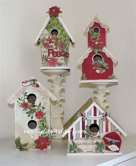 decorating bird houses  scrapbook paper altered