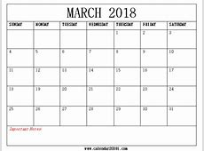 March 2018 Calendar Printable Template Free Download Word