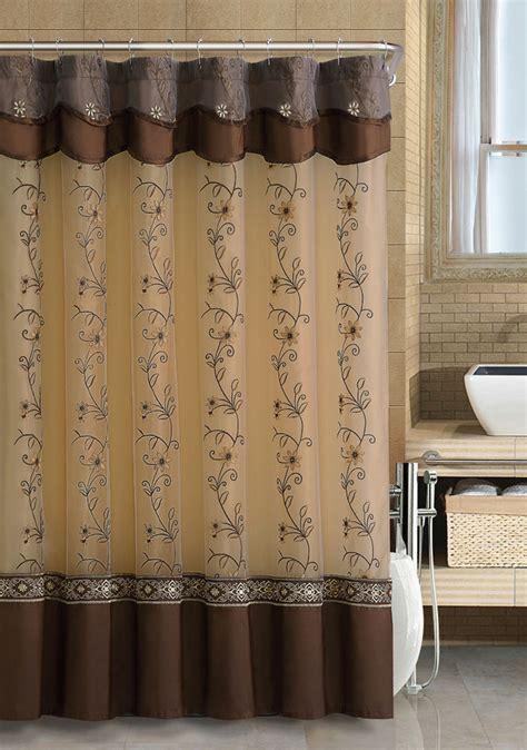 chocolate brown two layered embroidered fabric shower