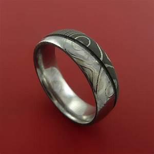damascus steel ring wedding band two tone finish genuine With timascus wedding ring