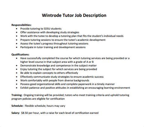 sle tutor resume template 7 free sle exles