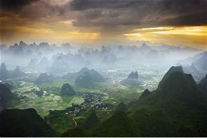China Landscape Yangshuo Misty Chinese Landscapes Scenery