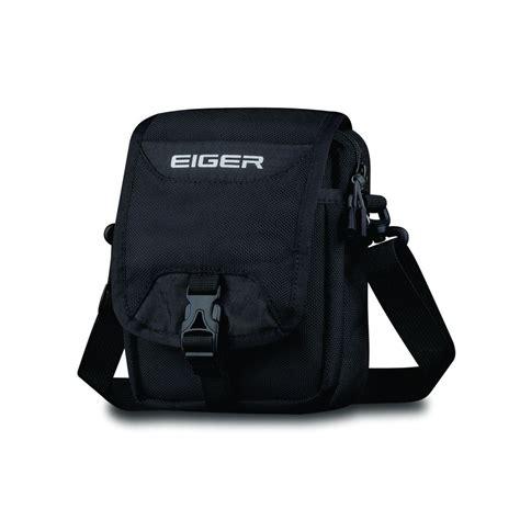 eiger travel pouch black stripe tas selempang hitam