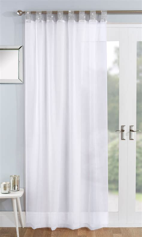 vegas sparkle tab top panels white curtains  home