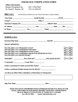 insurance verification form for chiropractic office insurance verification form for chiropractic office edit