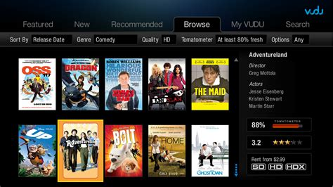 vudu  ui released today hdtvs blu ray ps boxee