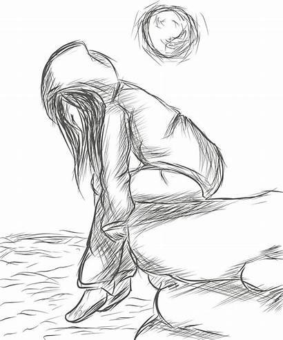 Lonely Drawing Drawings Sketches Sad Sketch Cartoon