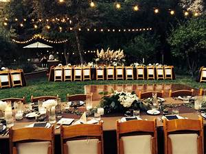 backyard wedding with carmin events table decorations